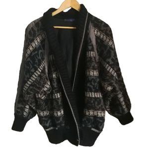 VINTAGE ESCADA Y2K Oversized Wool & Alpaca Neutrals Animal Print Knit Cardigan L